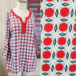 Kim Rogers | L tunic top red and teal blue